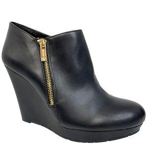 NWOT Jessica Simpson Black Leather Wedge Booties